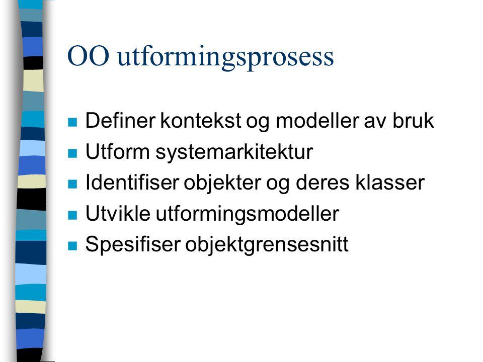 OO utformingsprosess n Definer kontekst og modeller av bruk n Utform systemarkitektur n Identifiser objekter og deres klasser n Utvikle utformingsmodeller n Spesifiser objektgrensesnitt