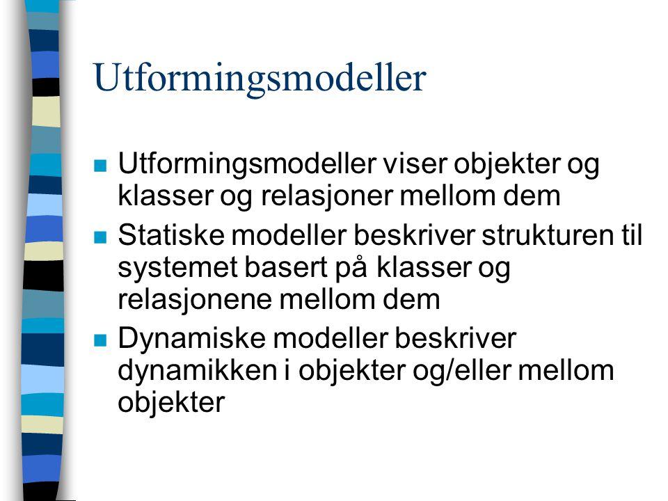 Utformingsmodeller n Utformingsmodeller viser objekter og klasser og relasjoner mellom dem n Statiske modeller beskriver strukturen til systemet basert på klasser og relasjonene mellom dem n Dynamiske modeller beskriver dynamikken i objekter og/eller mellom objekter