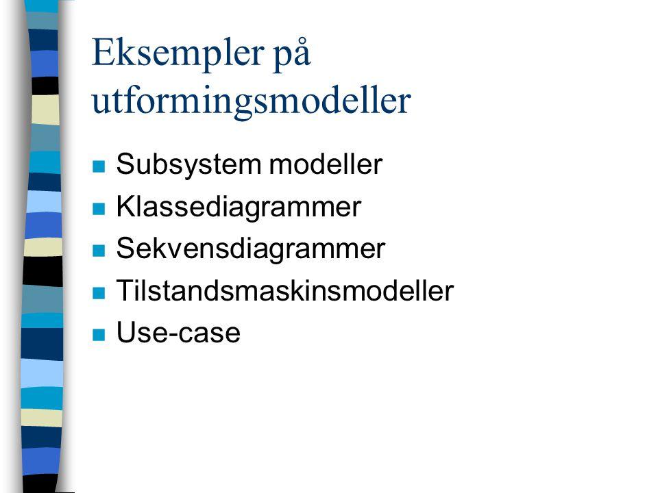 Eksempler på utformingsmodeller n Subsystem modeller n Klassediagrammer n Sekvensdiagrammer n Tilstandsmaskinsmodeller n Use-case