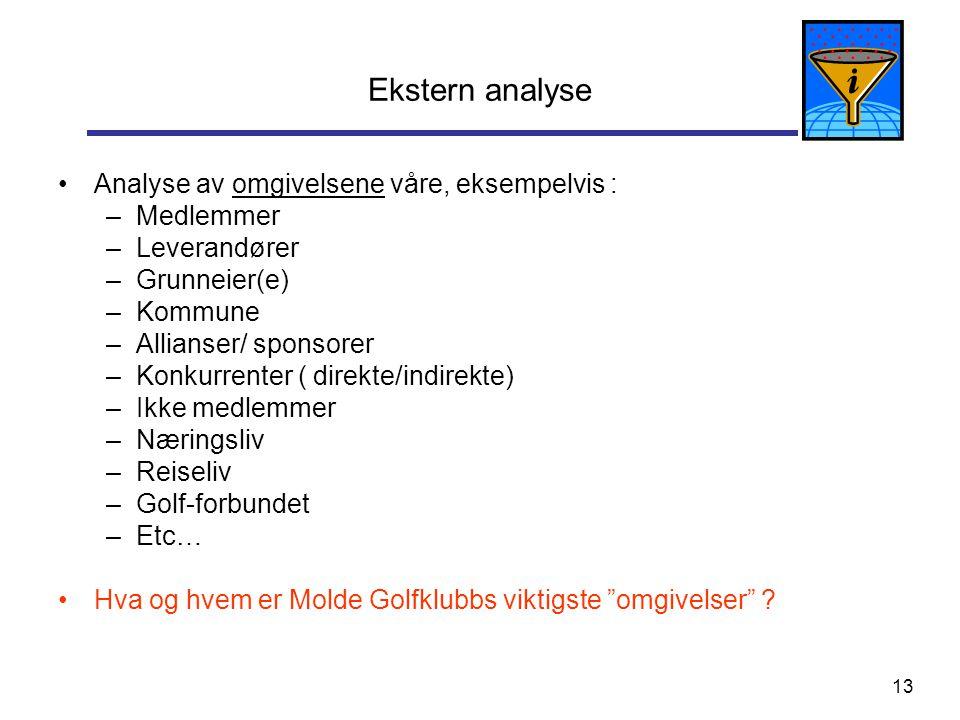 13 Ekstern analyse Analyse av omgivelsene våre, eksempelvis : –Medlemmer –Leverandører –Grunneier(e) –Kommune –Allianser/ sponsorer –Konkurrenter ( di