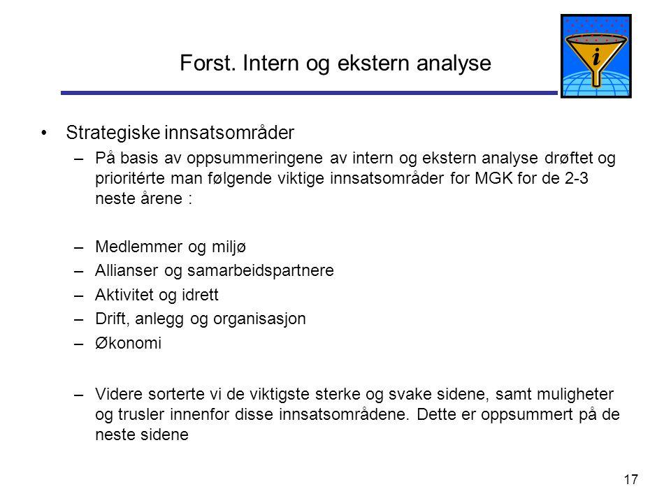 17 Forst. Intern og ekstern analyse Strategiske innsatsområder –På basis av oppsummeringene av intern og ekstern analyse drøftet og prioritérte man fø