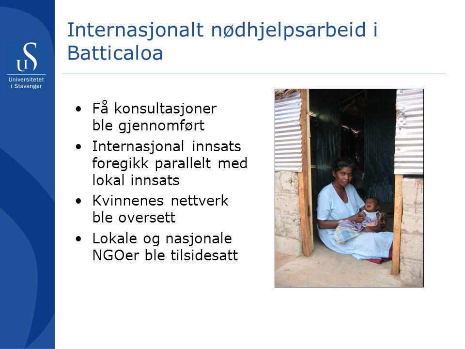 Lokale kvinner konsulteres Nødhjelpsarbeid Lokale ressurser støttes Lokale ressurser tilsidesatt Lang- siktig effekt Kort- siktig effekt Hjelpearbeid uten konsultasjoner