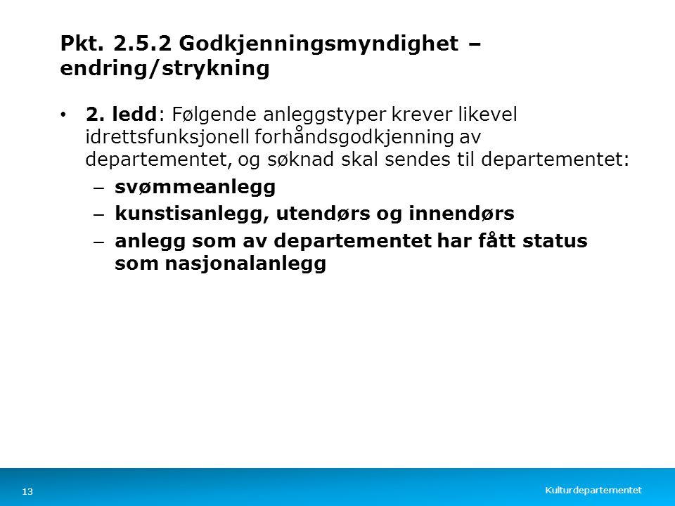 Kulturdepartementet Norsk mal: Tekst med kulepunkter – 4 vertikale bilder Pkt. 2.5.2 Godkjenningsmyndighet – endring/strykning 2. ledd: Følgende anleg