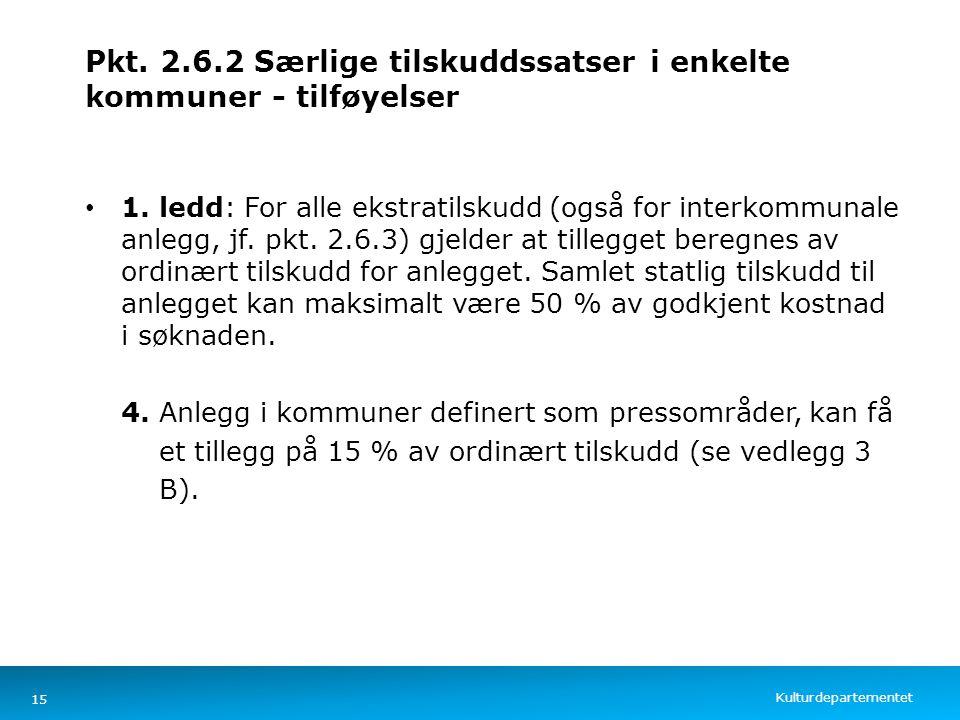 Kulturdepartementet Norsk mal: Tekst med kulepunkter – 4 vertikale bilder Pkt. 2.6.2 Særlige tilskuddssatser i enkelte kommuner - tilføyelser 1. ledd: