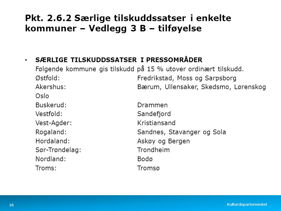 Kulturdepartementet Norsk mal: Tekst med kulepunkter – 4 vertikale bilder Pkt. 2.6.2 Særlige tilskuddssatser i enkelte kommuner – Vedlegg 3 B – tilføy