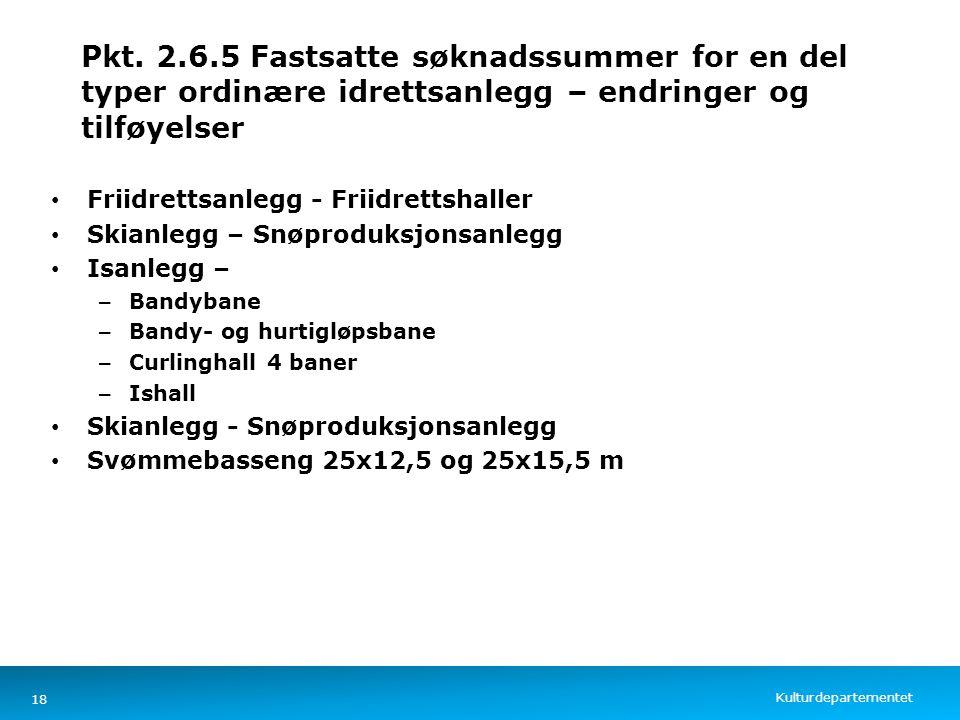Kulturdepartementet Norsk mal: Tekst med kulepunkter – 4 vertikale bilder Pkt. 2.6.5 Fastsatte søknadssummer for en del typer ordinære idrettsanlegg –