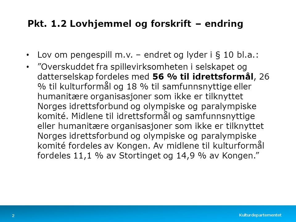 Kulturdepartementet Norsk mal: Tekst med kulepunkter – 4 vertikale bilder Pkt. 1.2 Lovhjemmel og forskrift – endring Lov om pengespill m.v. – endret o