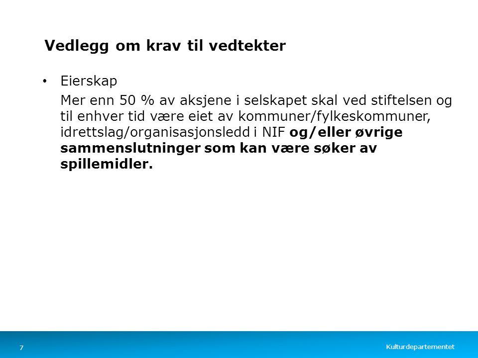 Kulturdepartementet Norsk mal: Tekst med kulepunkter – 4 vertikale bilder Vedlegg om krav til vedtekter Eierskap Mer enn 50 % av aksjene i selskapet s