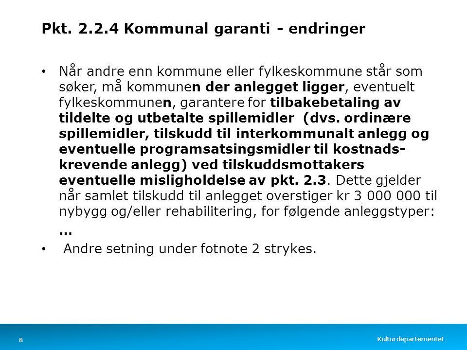 Kulturdepartementet Norsk mal: Tekst med kulepunkter – 4 vertikale bilder Pkt. 2.2.4 Kommunal garanti - endringer Når andre enn kommune eller fylkesko