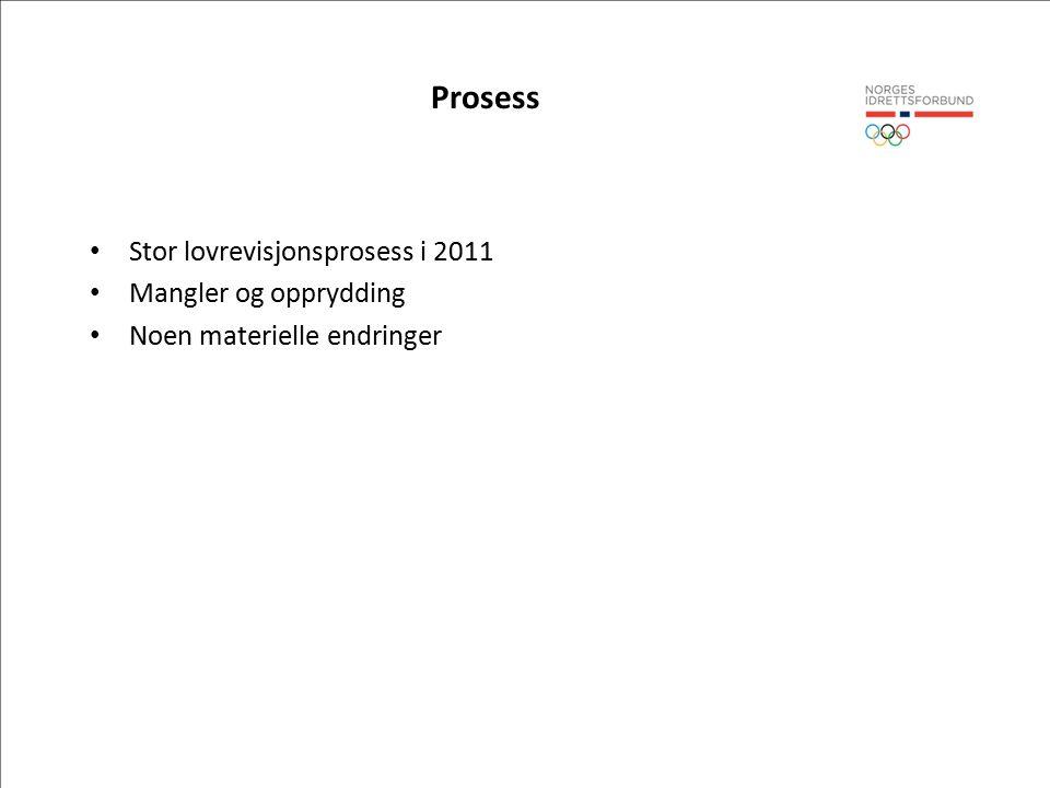 Prosess Stor lovrevisjonsprosess i 2011 Mangler og opprydding Noen materielle endringer