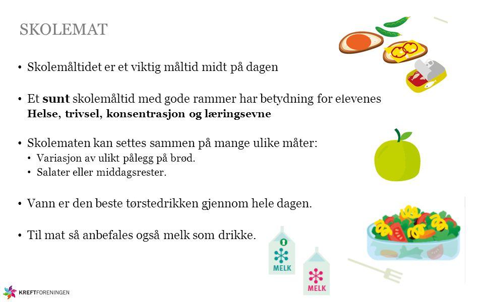 SKOLEMAT Skolemåltidet er et viktig måltid midt på dagen Et sunt skolemåltid med gode rammer har betydning for elevenes Helse, trivsel, konsentrasjon