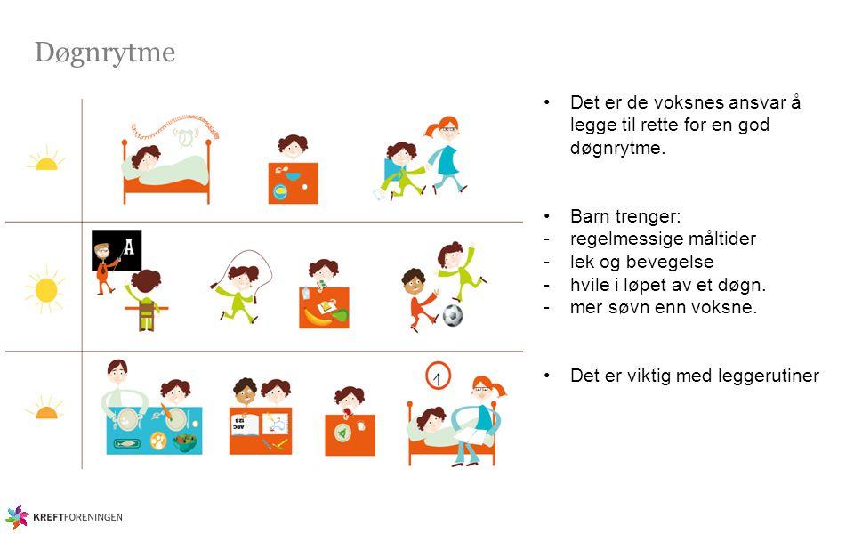 Døgnrytme Det er de voksnes ansvar å legge til rette for en god døgnrytme. Barn trenger: -regelmessige måltider -lek og bevegelse -hvile i løpet av et