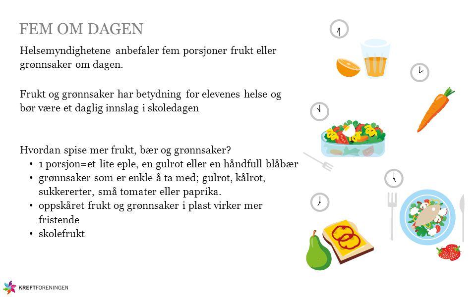 FEM OM DAGEN Helsemyndighetene anbefaler fem porsjoner frukt eller grønnsaker om dagen. Frukt og grønnsaker har betydning for elevenes helse og bør væ