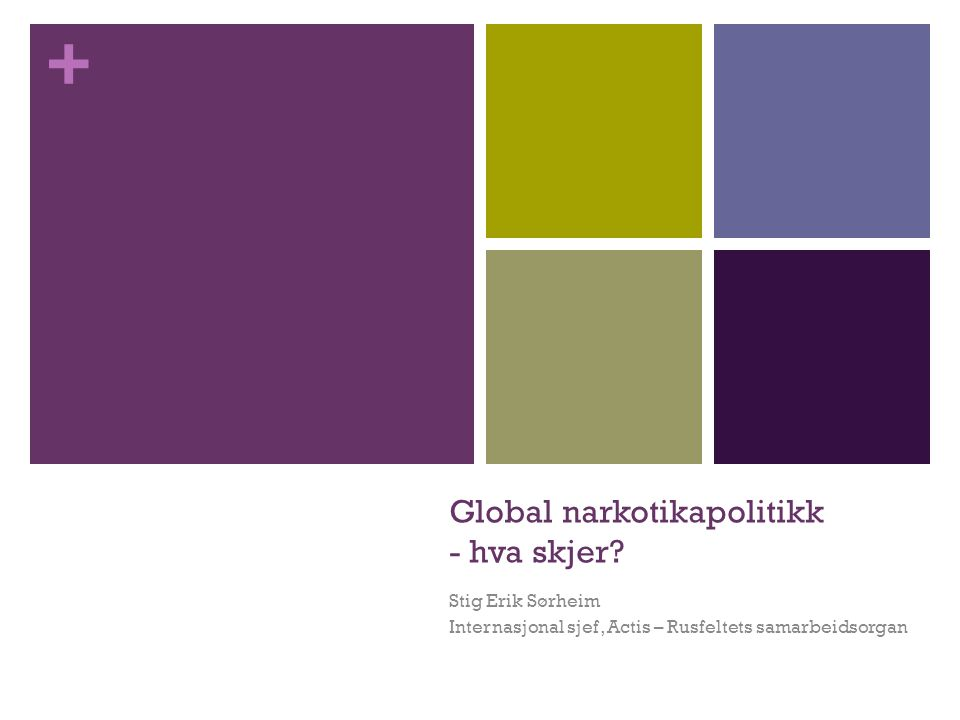 + Global narkotikapolitikk - hva skjer? Stig Erik Sørheim Internasjonal sjef, Actis – Rusfeltets samarbeidsorgan
