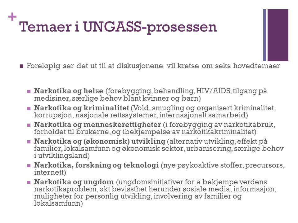 + Temaer i UNGASS-prosessen Foreløpig ser det ut til at diskusjonene vil kretse om seks hovedtemaer Narkotika og helse (forebygging, behandling, HIV/A