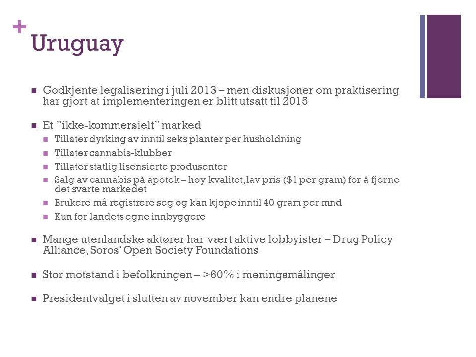 """+ Uruguay Godkjente legalisering i juli 2013 – men diskusjoner om praktisering har gjort at implementeringen er blitt utsatt til 2015 Et """"ikke-kommers"""