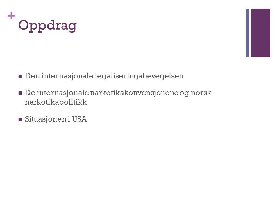 + Oppdrag Den internasjonale legaliseringsbevegelsen De internasjonale narkotikakonvensjonene og norsk narkotikapolitikk Situasjonen i USA