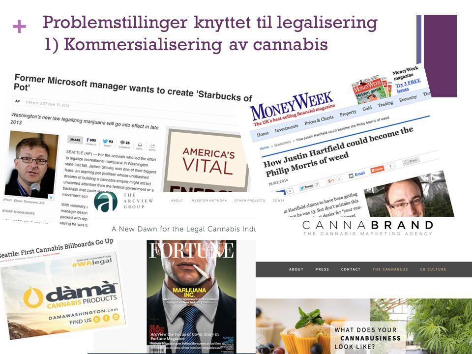 + Problemstillinger knyttet til legalisering 1) Kommersialisering av cannabis