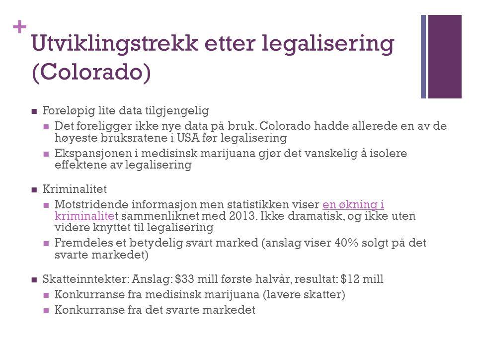 + Utviklingstrekk etter legalisering (Colorado) Foreløpig lite data tilgjengelig Det foreligger ikke nye data på bruk. Colorado hadde allerede en av d