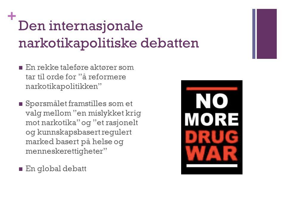 """+ Den internasjonale narkotikapolitiske debatten En rekke taleføre aktører som tar til orde for """"å reformere narkotikapolitikken"""" Spørsmålet framstill"""