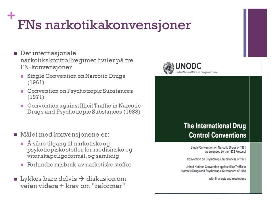 + FNs narkotikakonvensjoner Det internasjonale narkotikakontrollregimet hviler på tre FN-konvensjoner Single Convention on Narcotic Drugs (1961) Conve