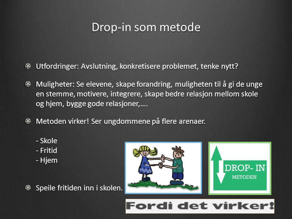 Drop-in som metode Utfordringer: Avslutning, konkretisere problemet, tenke nytt.