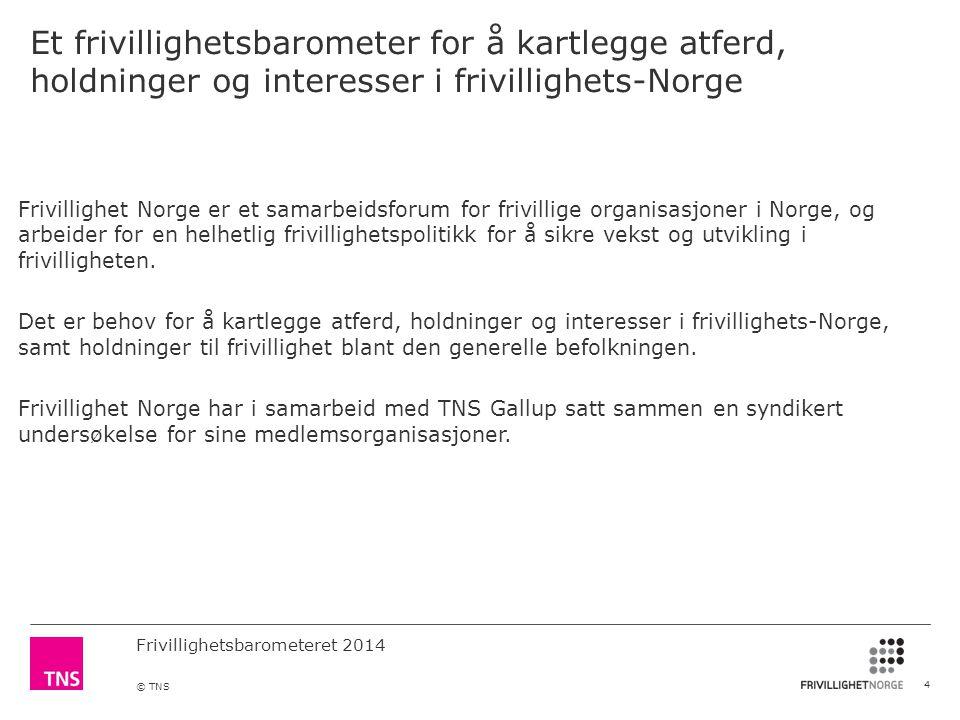 Frivillighetsbarometeret 2014 © TNS Et frivillighetsbarometer for å kartlegge atferd, holdninger og interesser i frivillighets-Norge Frivillighet Norge er et samarbeidsforum for frivillige organisasjoner i Norge, og arbeider for en helhetlig frivillighetspolitikk for å sikre vekst og utvikling i frivilligheten.