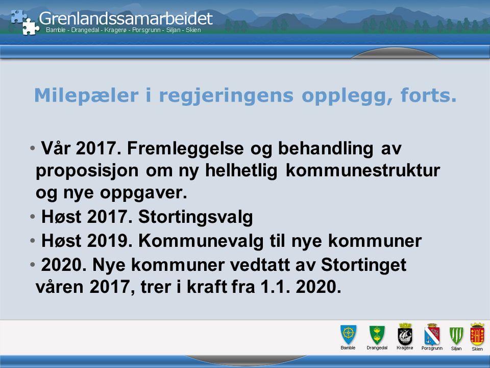 Milepæler i regjeringens opplegg, forts. Vår 2017.