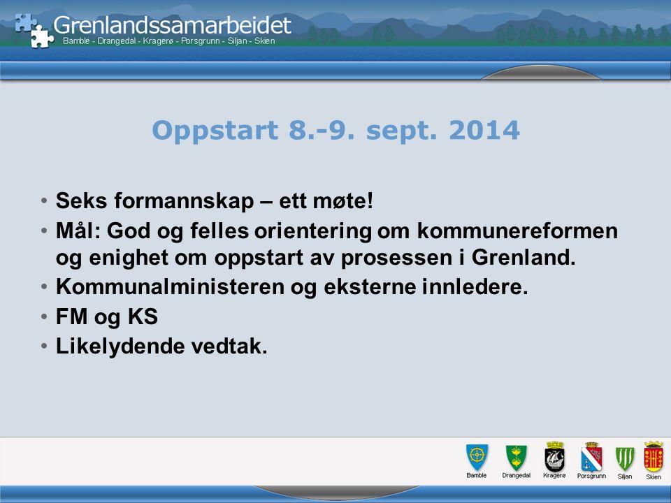 Oppstart 8.-9. sept. 2014 Seks formannskap – ett møte.