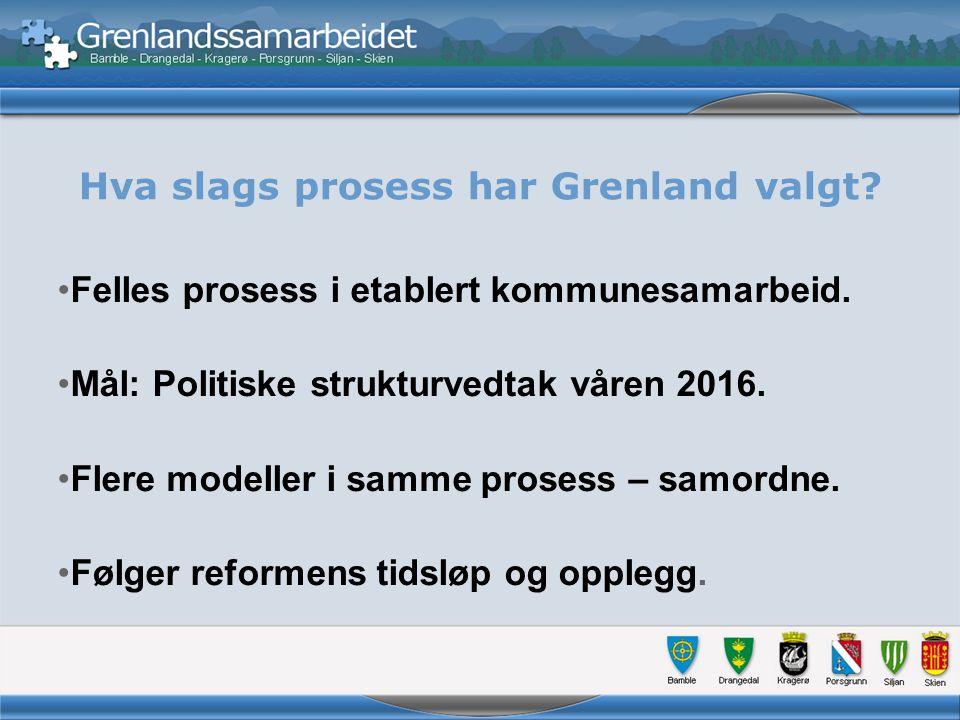Hva slags prosess har Grenland valgt. Felles prosess i etablert kommunesamarbeid.