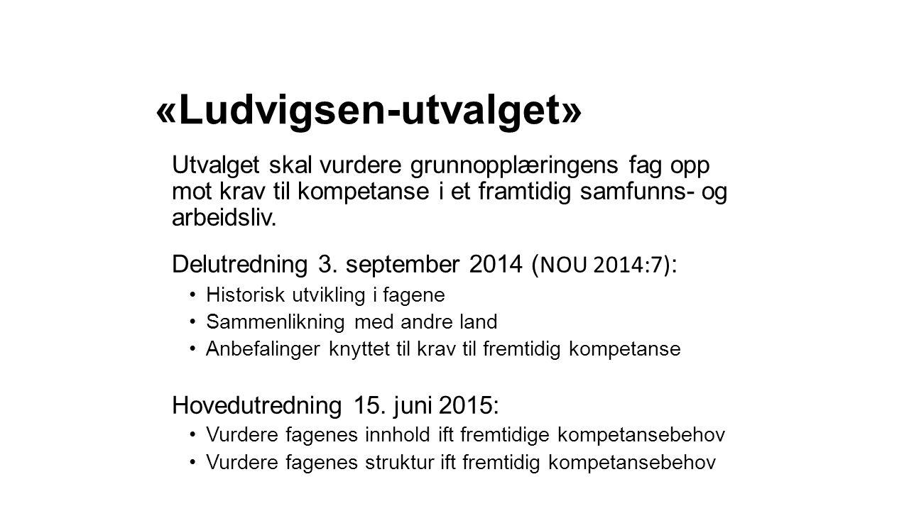«Ludvigsen-utvalget» Utvalget skal vurdere grunnopplæringens fag opp mot krav til kompetanse i et framtidig samfunns- og arbeidsliv. Delutredning 3. s