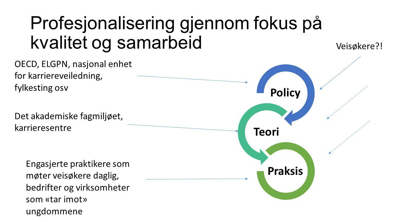 Profesjonalisering gjennom fokus på kvalitet og samarbeid Policy Teori Praksis OECD, ELGPN, nasjonal enhet for karriereveiledning, fylkesting osv Det