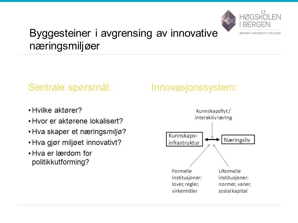 Byggesteiner i avgrensing av innovative næringsmiljøer Sentrale spørsmål: Hvilke aktører.