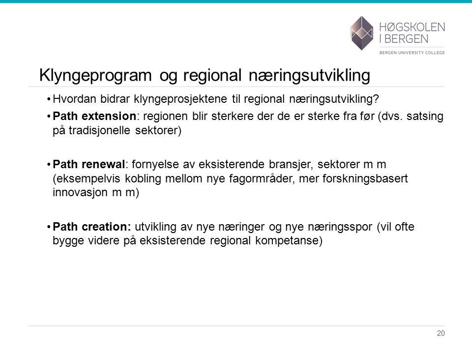 Klyngeprogram og regional næringsutvikling Hvordan bidrar klyngeprosjektene til regional næringsutvikling.