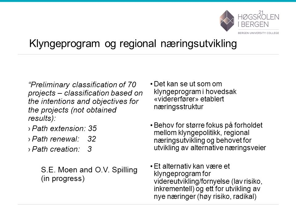 Klyngeprogram og regional næringsutvikling Preliminary classification of 70 projects – classification based on the intentions and objectives for the projects (not obtained results): ›Path extension: 35 ›Path renewal: 32 ›Path creation: 3 S.E.