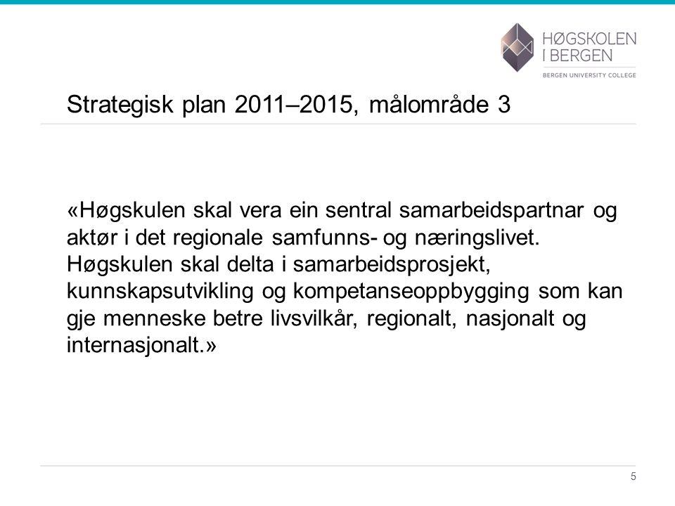 Strategisk plan 2011–2015, målområde 3 «Høgskulen skal vera ein sentral samarbeidspartnar og aktør i det regionale samfunns- og næringslivet.
