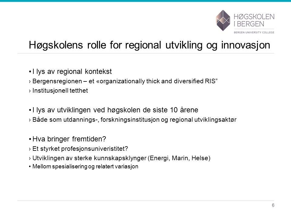 Et «historisk» tilbakeblikk 7 Forskning InnovasjonUtdanning Høgskolen i endring