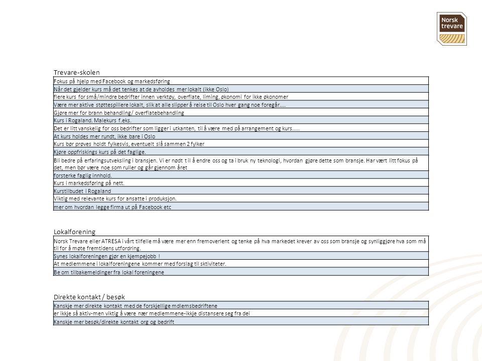 Trevare-skolen Fokus på hjelp med Facebook og markedsføring Når det gjelder kurs må det tenkes at de avholdes mer lokalt (ikke Oslo) flere kurs for små/mindre bedrifter innen verktøy, overflate, liming, økonomi for ikke økonomer Være mer aktive støttespillere lokalt, slik at alle slipper å reise til Oslo hver gang noe foregår....