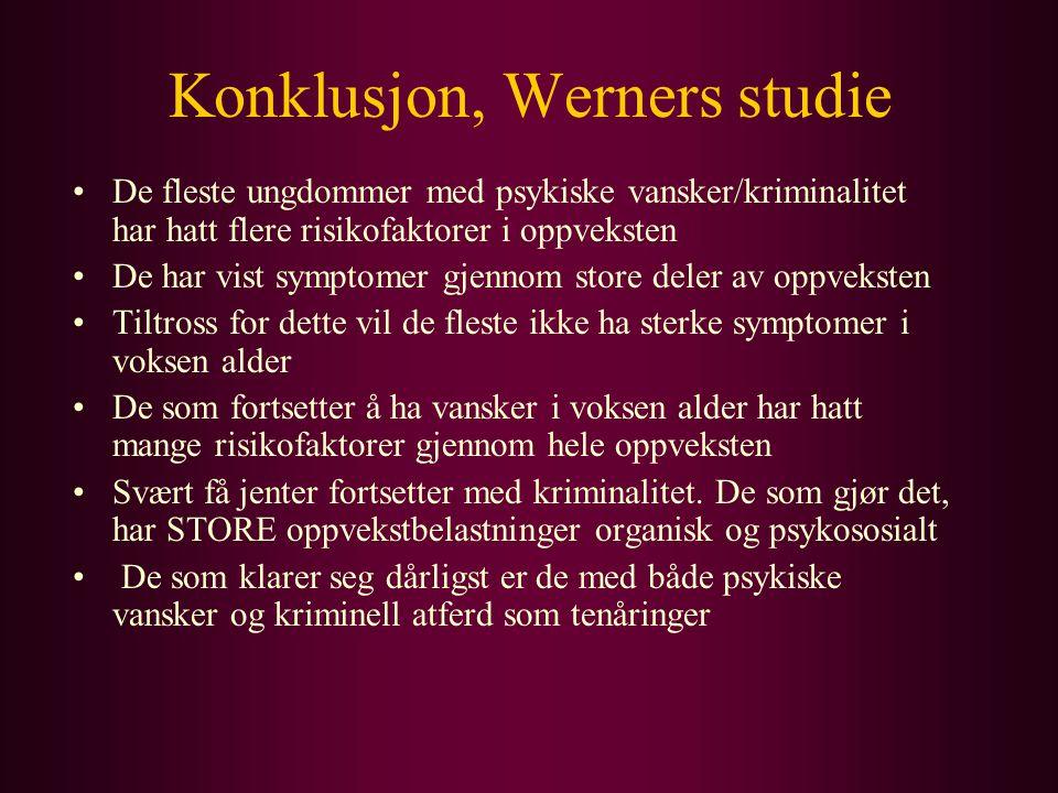 Konklusjon, Werners studie De fleste ungdommer med psykiske vansker/kriminalitet har hatt flere risikofaktorer i oppveksten De har vist symptomer gjen