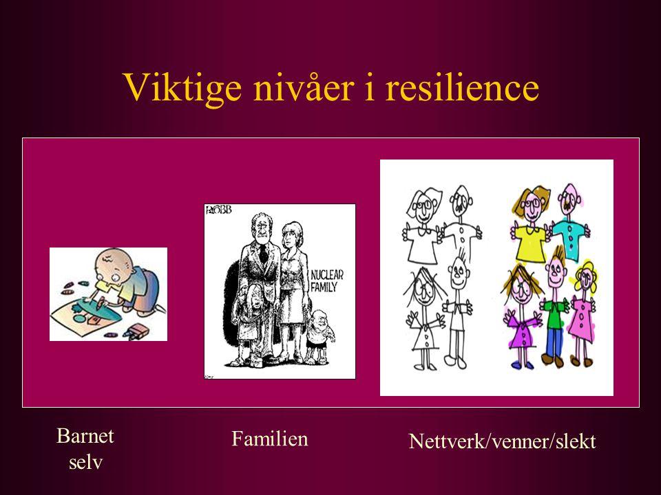 Viktige nivåer i resilience Barnet selv Familien Nettverk/venner/slekt