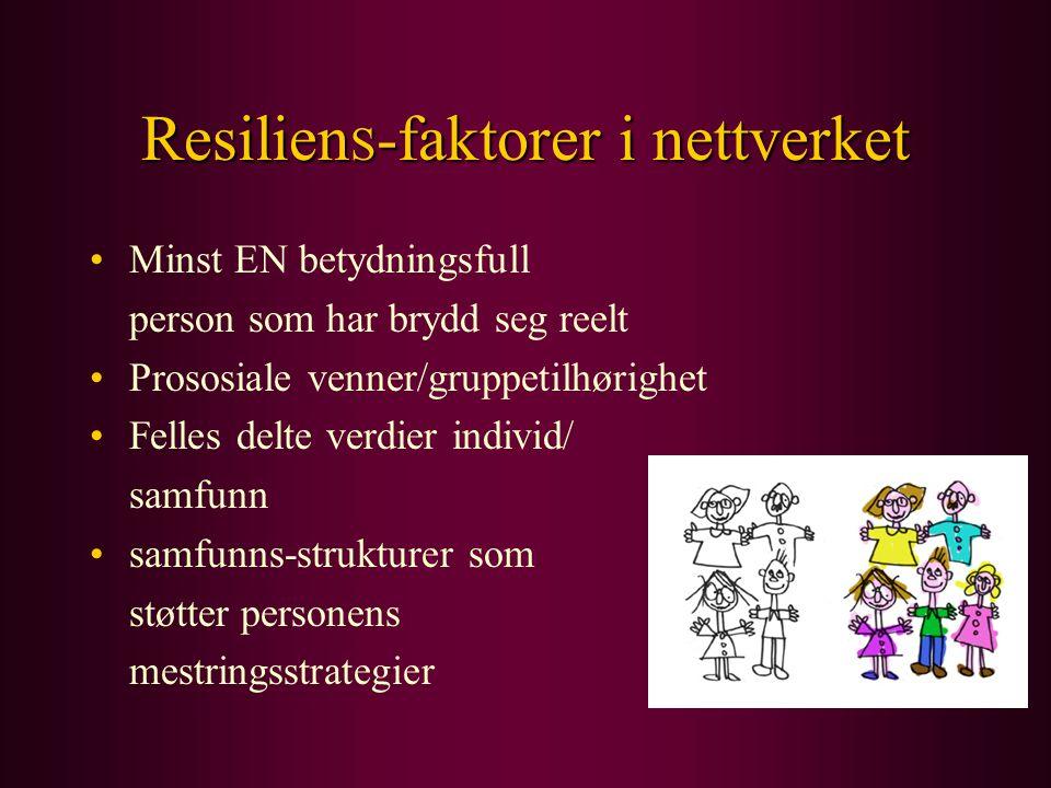 Resilien S -faktorer i nettverket Minst EN betydningsfull person som har brydd seg reelt Prososiale venner/gruppetilhørighet Felles delte verdier indi