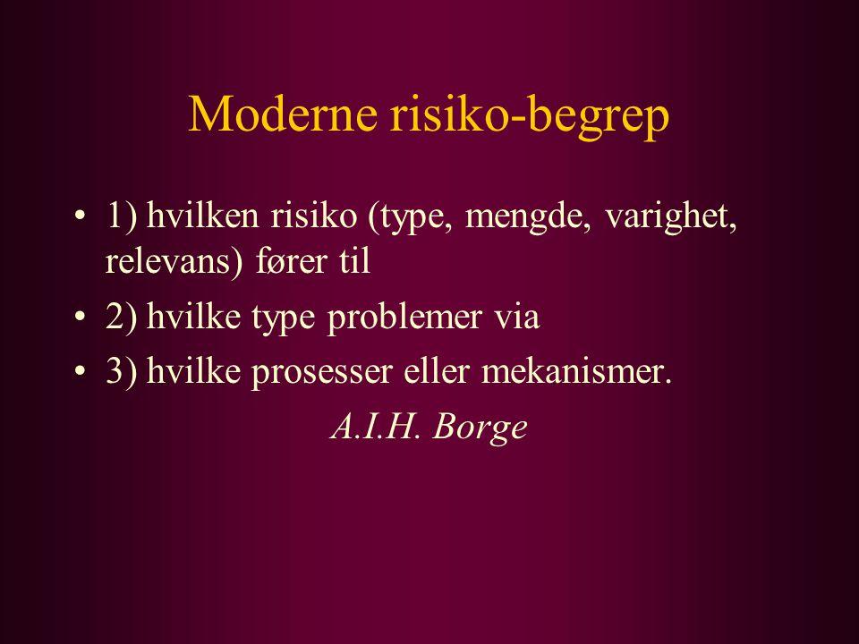 Moderne risiko-begrep 1) hvilken risiko (type, mengde, varighet, relevans) fører til 2) hvilke type problemer via 3) hvilke prosesser eller mekanismer