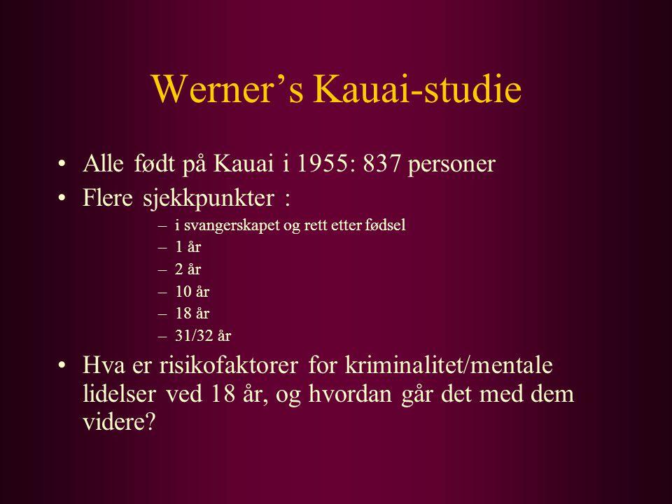 Werner's Kauai-studie Alle født på Kauai i 1955: 837 personer Flere sjekkpunkter : –i svangerskapet og rett etter fødsel –1 år –2 år –10 år –18 år –31