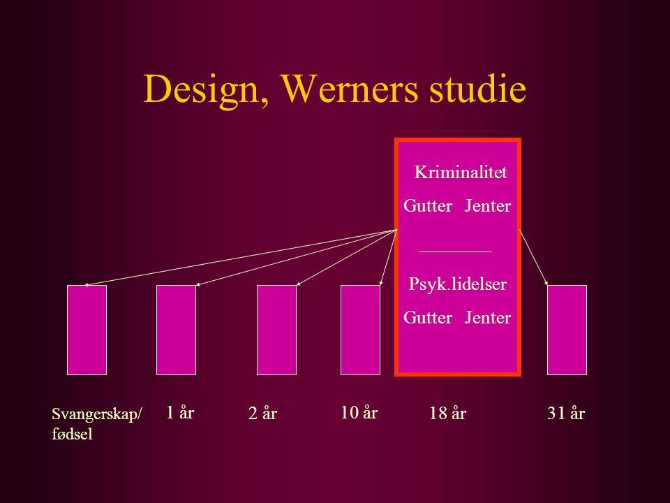 Design, Werners studie Svangerskap/ fødsel 1 år 2 år 10 år 18 år31 år Kriminalitet Gutter Jenter Psyk.lidelser Gutter Jenter