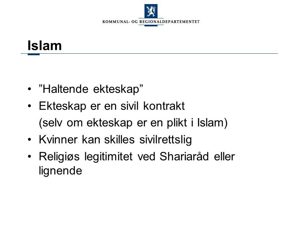 """""""Haltende ekteskap"""" Ekteskap er en sivil kontrakt (selv om ekteskap er en plikt i Islam) Kvinner kan skilles sivilrettslig Religiøs legitimitet ved Sh"""