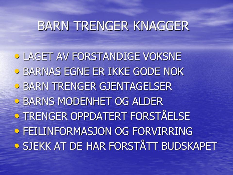 BARN TRENGER KNAGGER LAGET AV FORSTANDIGE VOKSNE LAGET AV FORSTANDIGE VOKSNE BARNAS EGNE ER IKKE GODE NOK BARNAS EGNE ER IKKE GODE NOK BARN TRENGER GJ