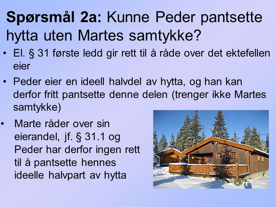 Spørsmål 2a: Kunne Peder pantsette hytta uten Martes samtykke? El. § 31 første ledd gir rett til å råde over det ektefellen eier Peder eier en ideell