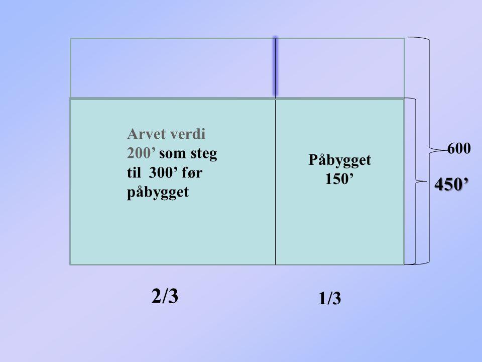 Arvet verdi 200' som steg til 300' før påbygget Påbygget 150' 450' 600 2/3 1/3