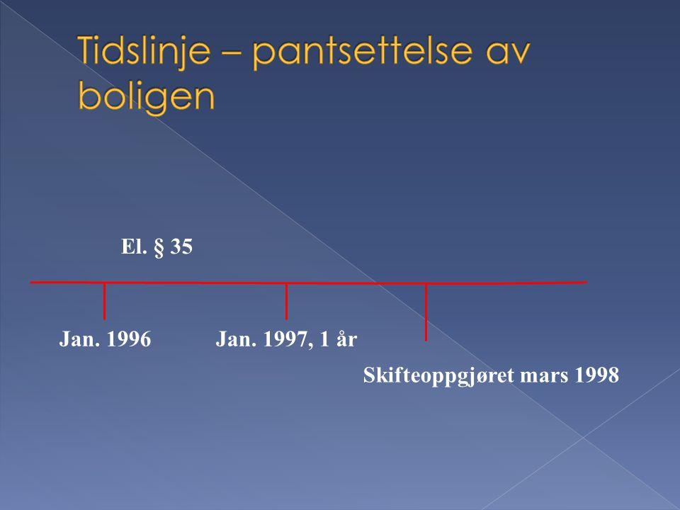 Jan. 1996Jan. 1997, 1 år El. § 35 Skifteoppgjøret mars 1998