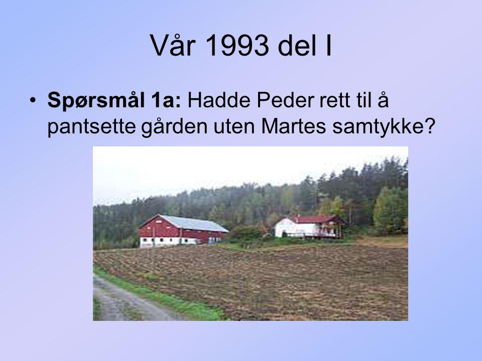 Vår 1993 del I Spørsmål 1a: Hadde Peder rett til å pantsette gården uten Martes samtykke?